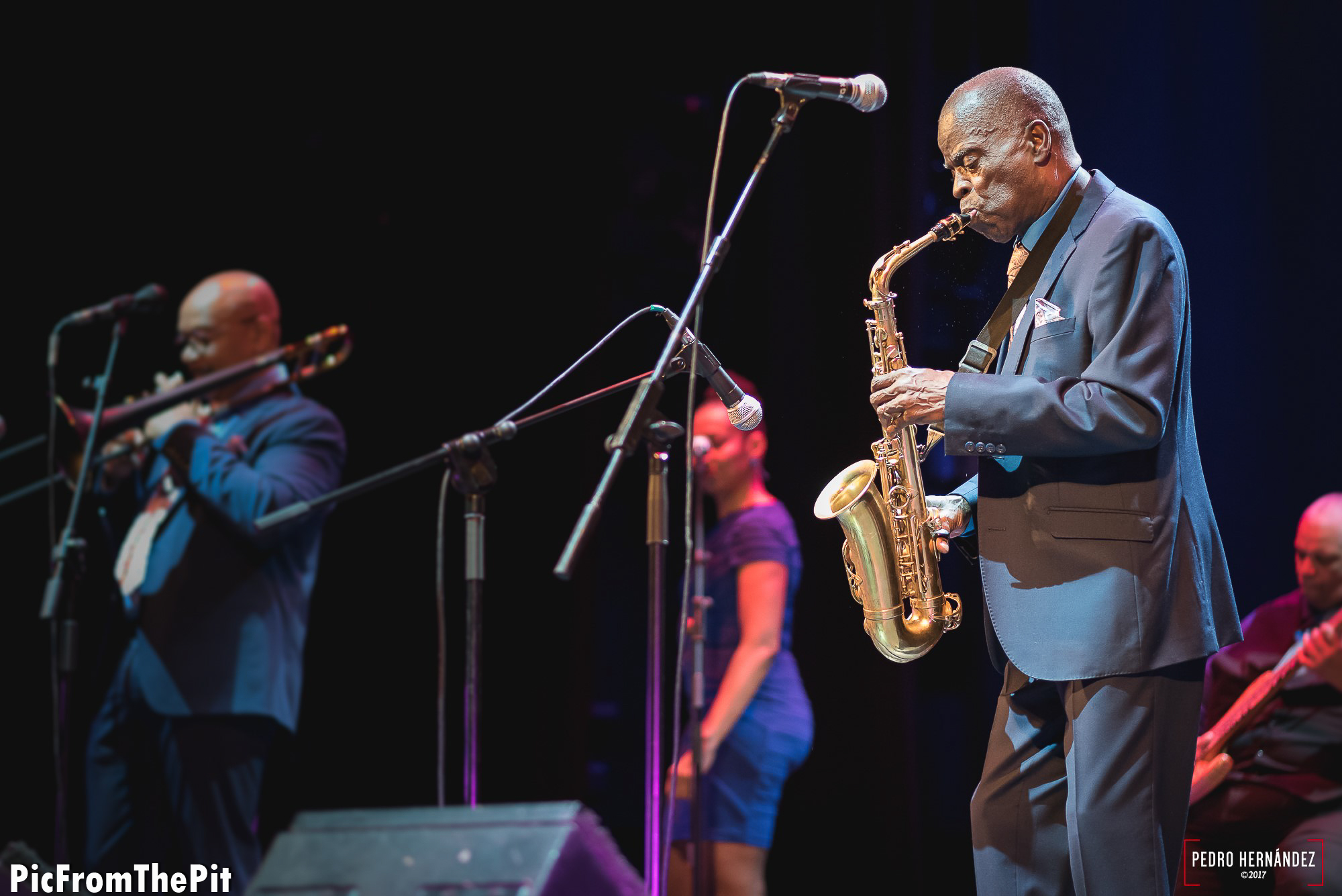 Maceo Parker. D750 85mm f1.8 1/160 ISO3200, Copyright Pedro Hernández @picfromthepit